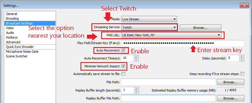 OBS: Broadcast Settings